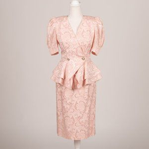 Vintage Pink Ruffle Butt Skirt Suit Size S